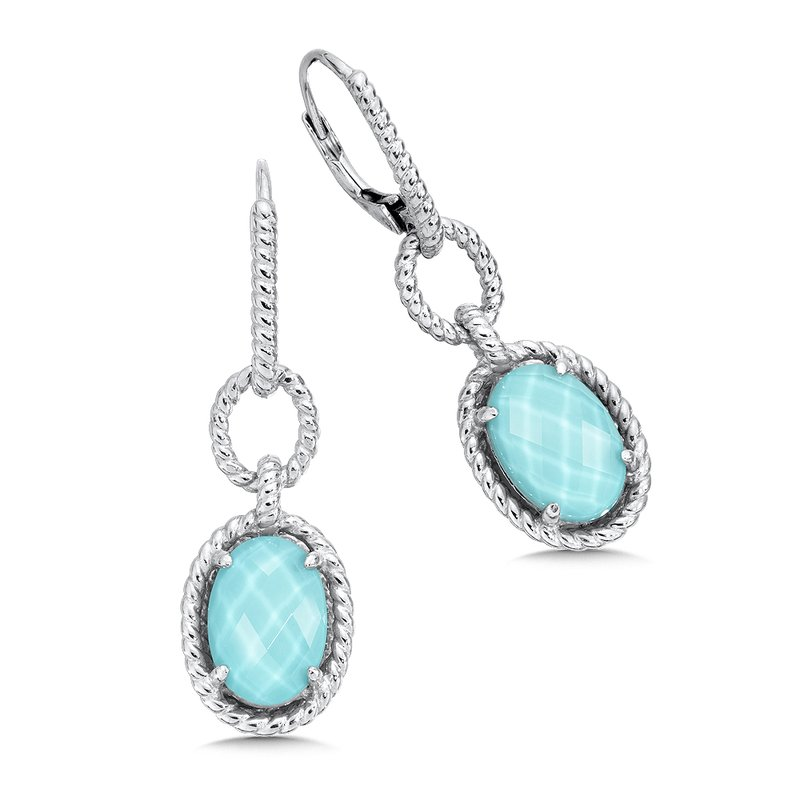 Colore SG Sterling silver, and turquoise fusion earrings
