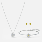 Swarovski Eternal Flower Set, Yellow, Mixed metal finish