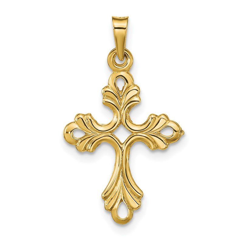 Quality Gold 14k Polished Fleur De Lis Cross Pendant