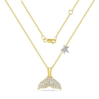 14K whale tail necklace with 61 diamonds 00.59CT 21mm long X 24mm wide