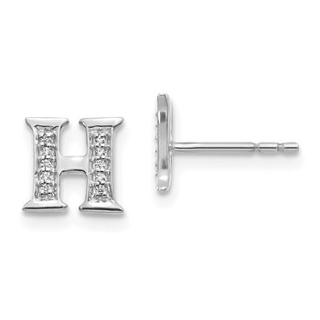 14k White Gold Diamond Initial H Earrings