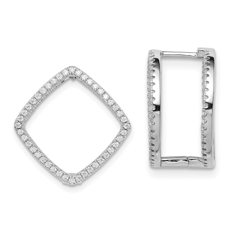 Quality Gold Sterling Silver Rhodium-plated CZ Square Hinged In/Out Earrings