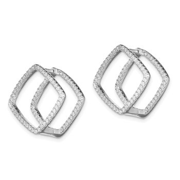 Sterling Silver Rhodium-plated CZ Square Hinged In/Out Earrings