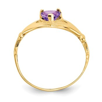 14k CZ February Birthstone Claddagh Heart Ring