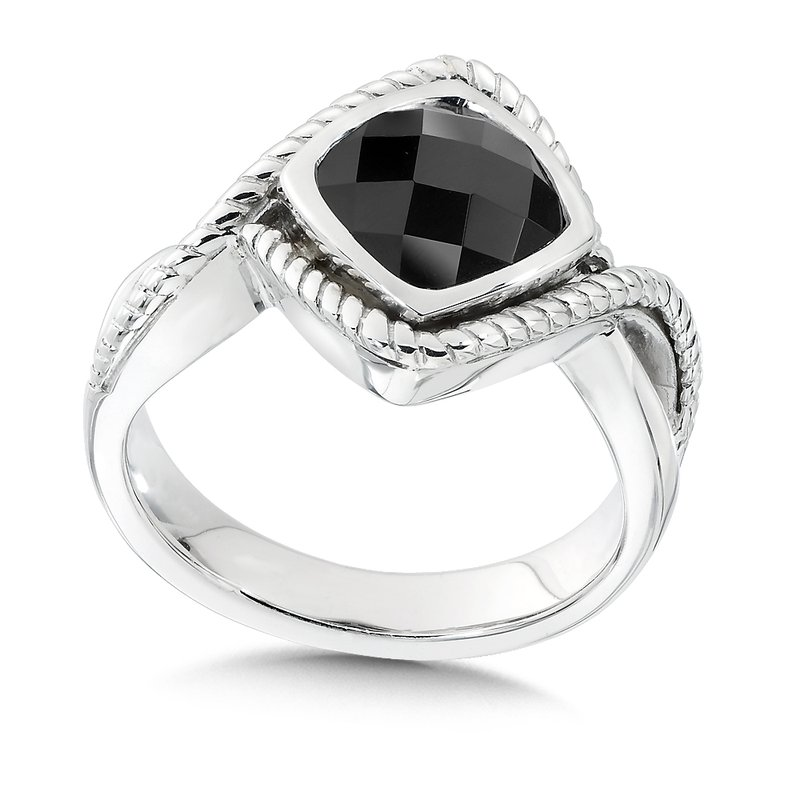 Colore Sg Sterling Silver and Onyx Ring