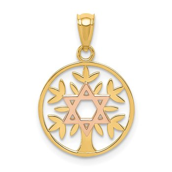 14K Two-Tone Polished Star Of David Tree Of Life Pendant