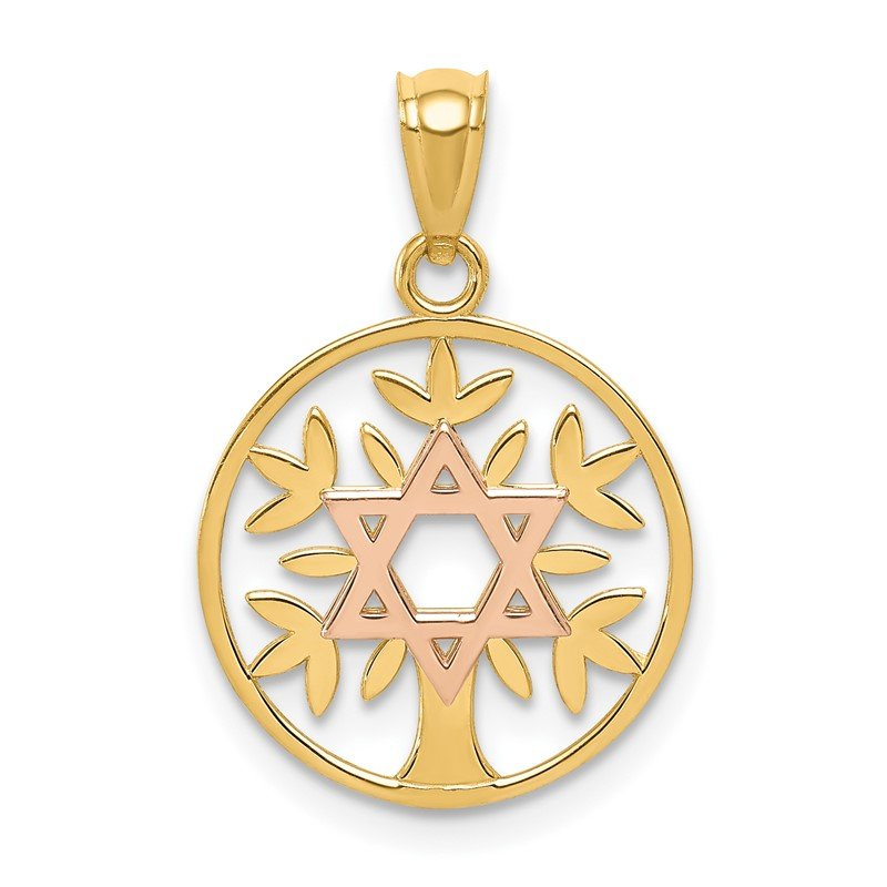 Quality Gold 14K Two-Tone Polished Star Of David Tree Of Life Pendant
