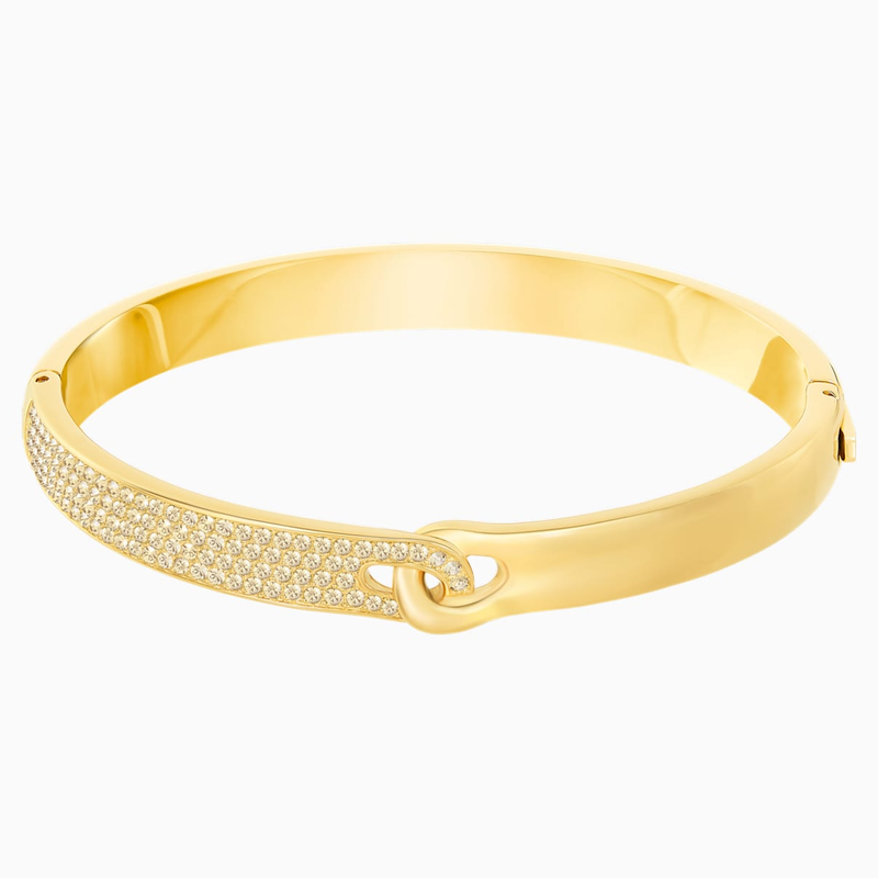 Swarovski Gallon Narrow Bangle, Golden, Gold-tone plated