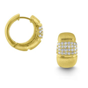 Diamond Chunky Hoop Earrings Set in 14 Kt. Brushed Gold