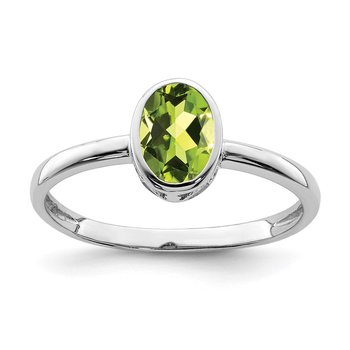 Sterling Silver Rhodium-plated Polished Peridot Oval Ring