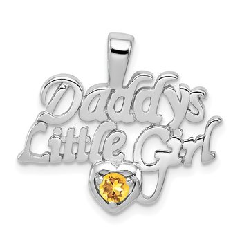 Sterling Silver Rhodium-platedCitrine Daddy's Little Girl Pendant