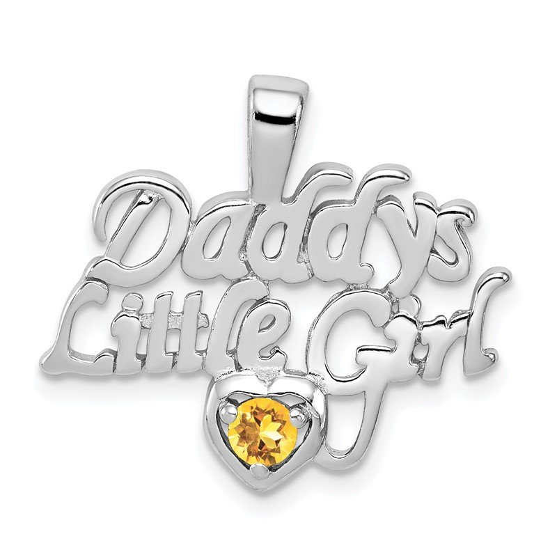 Arizona Diamond Center Collection Sterling Silver Rhodium-platedCitrine Daddy's Little Girl Pendant