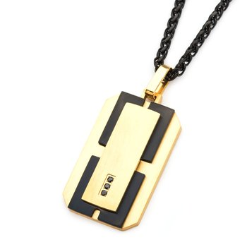 Stainless Steel Gold Plated and Black Plated with Black Gems Dog Tag Pendant with 24 inch Black Chain