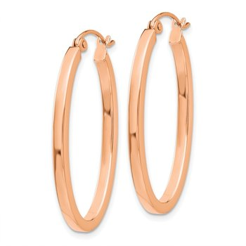 14k Rose Gold Polished Oval Tube Hoop Earrings