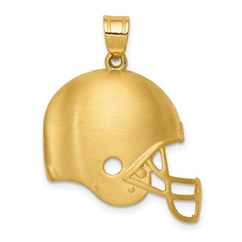 Quality Gold 14k Brushed Football Helmet Pendant