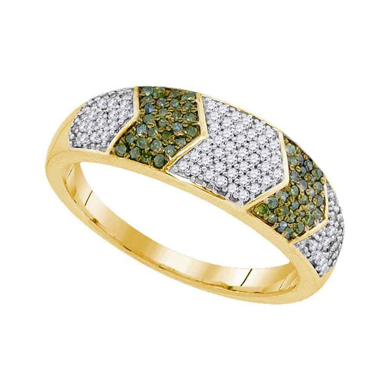 Kingdom Treasures 10kt Yellow Gold Womens Round Green Color Enhanced Diamond Band Ring 1/3 Cttw