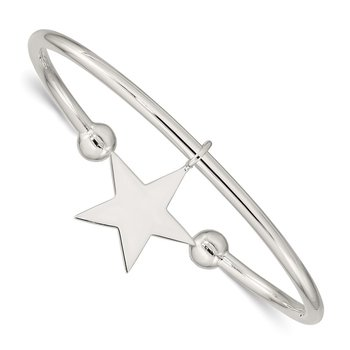Sterling Silver Star Bangle Bracelet