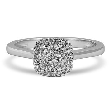 14K WG and diamond Cushion Halo composite head and plain shank ring in pressure setting