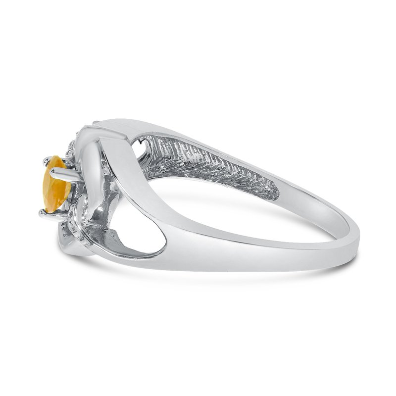 Color Merchants 10k White Gold Round Citrine And Diamond Heart Ring