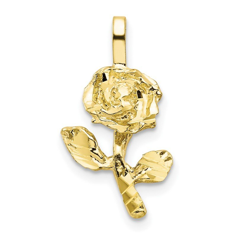 Quality Gold 10k Yellow Gold Rose Charm