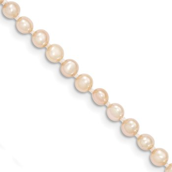 14k 3-4mm Pink Near Round Freshwater Cultured Pearl Necklace