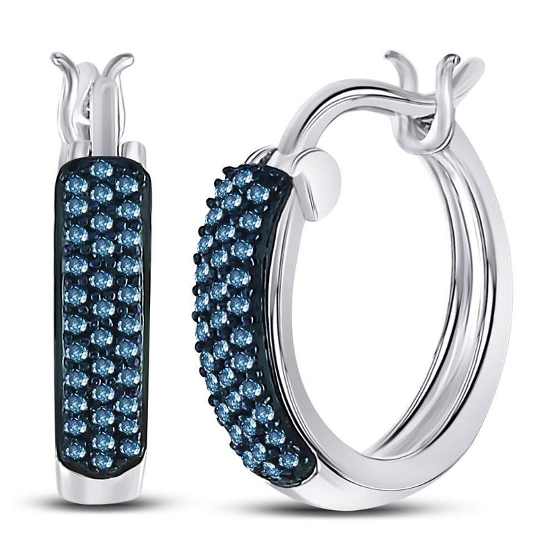 Kingdom Treasures 10kt White Gold Womens Round Blue Color Enhanced Diamond Huggie Earrings 1/10 Cttw