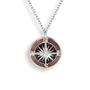Purple Compass Rose Necklace.Sterling Silver-White Sapphire