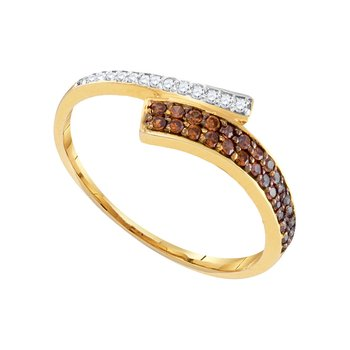 10kt Yellow Gold Womens Round Cognac-brown Color Enhanced Diamond Bypass Band 1/4 Cttw
