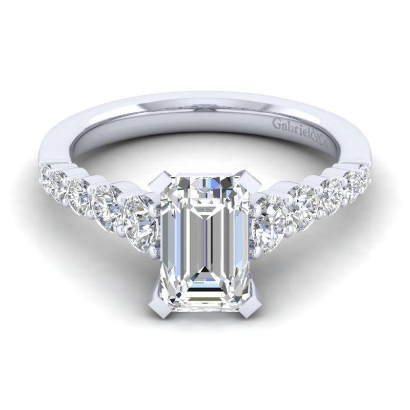 Gabriel Bridal 14K White Gold Emerald Cut Diamond Engagement Ring