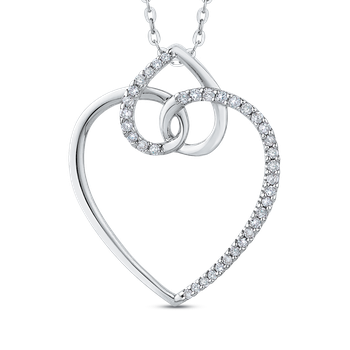 10K White Gold 1/5 Ct Diamond Heart Pendant with Chain
