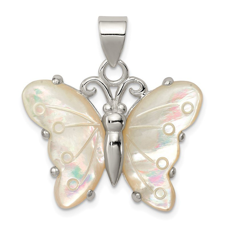 Quality Gold Sterling Silver White Shell Butterfly Pendant