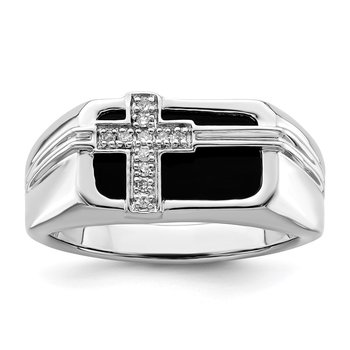Sterling Silver Rhodium Plated Diamond Black Onyx Cross Men's Ring