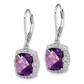 Sterling Silver Rhodium-plated Diamond Amethyst Earrings