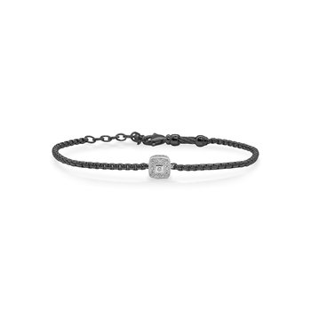Black Chain Expressions Bracelet with Square Diamond Station set in 14kt White Gold