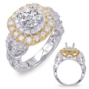 White & Yellow Gold Halo Engagement