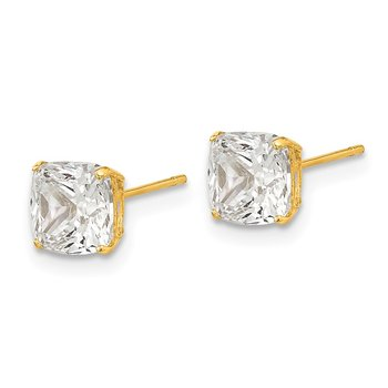 14k Polished 6x6 Cushion Cut CZ Stud Post Earrings