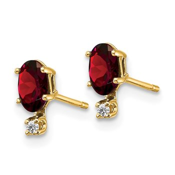 14k Diamond & Garnet Birthstone Earrings