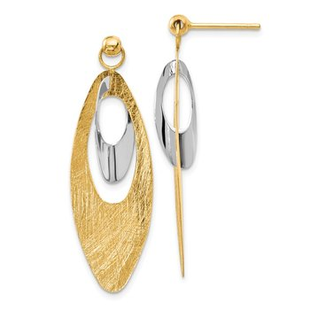 Leslie's 14K Two-tone Polished & Scratch Finish Reversible Post Earrings