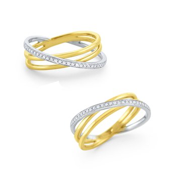 Diamond Intertwining Ring Set in 14 Kt. Gold
