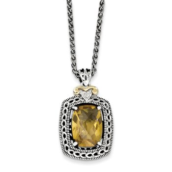 Sterling Silver w/14k Diamond & Whiskey Quartz Necklace