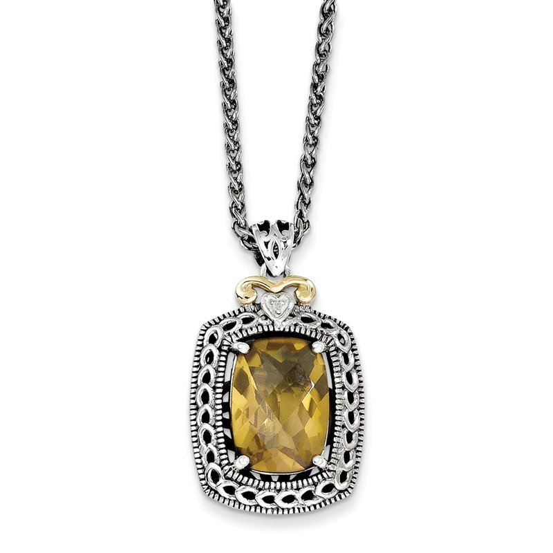 Shey Couture Sterling Silver w/14k Diamond & Whiskey Quartz Necklace