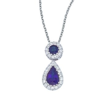14k White Gold Sapphire and Diamond Dangle Pendant