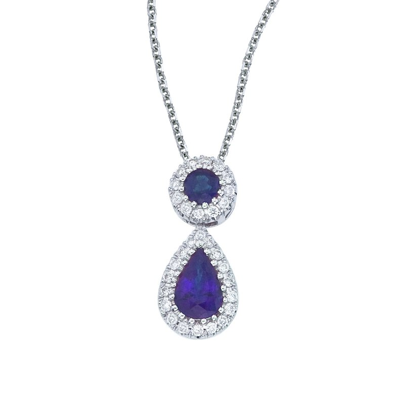 Color Merchants 14k White Gold Sapphire and Diamond Dangle Pendant