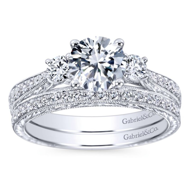 Gabriel & Co. New York Vintage 14K White Gold Round Three Stone Diamond Engagement Ring