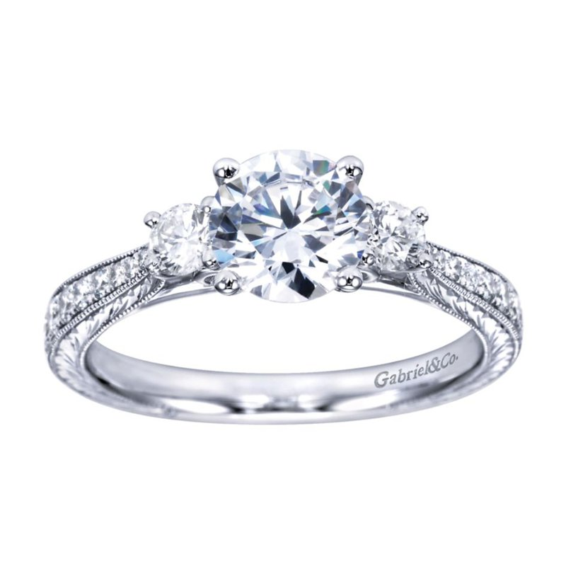 Gabriel Bridal Bestsellers Vintage 14K White Gold Round Three Stone Diamond Engagement Ring