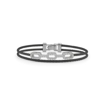Black Cable Petite Layered Links Bracelet with 18kt White Gold & Diamonds