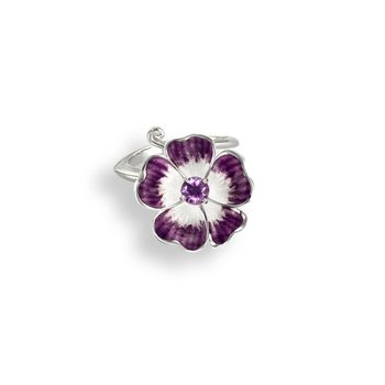 Purple Floral Ring.Sterling Silver-Amethyst