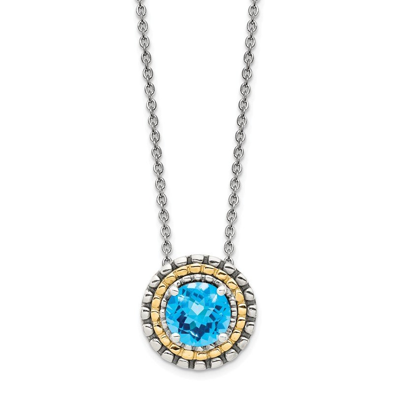Shey Couture Sterling Silver w/ 14K Accent Light Swiss Blue Topaz Round Necklace