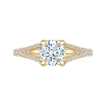 14K Yellow Gold Round Diamond Engagement Ring with Split Shank (Semi-Mount)