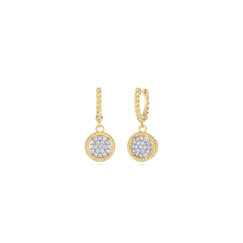 18Kt Gold Pave Circle Drop Earrings